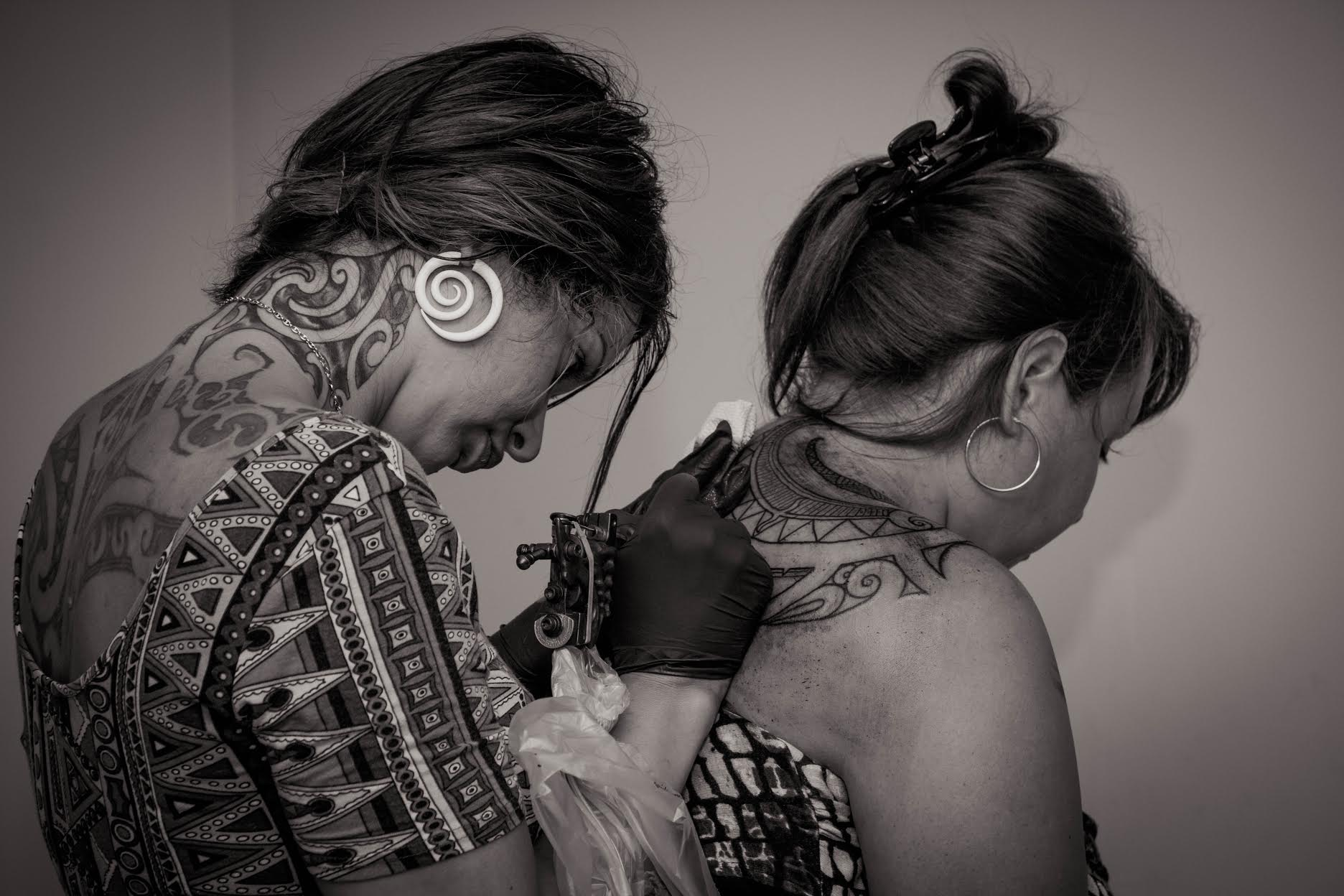 Tattooing one of my relations at Hongoeka Marae.
