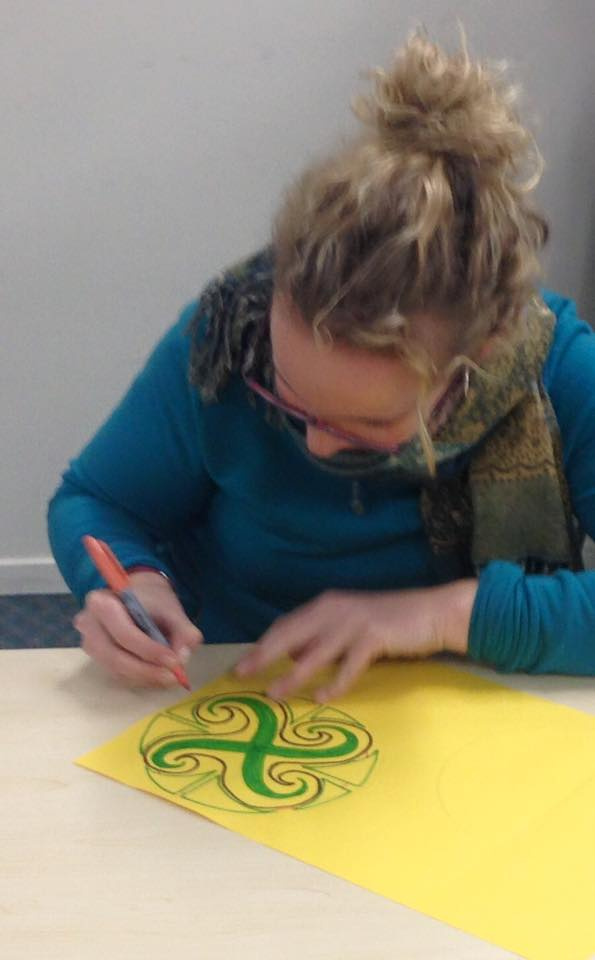 An early childhood teacher from Ireland practicing the activity so she can share it with the tamariki that she works with.