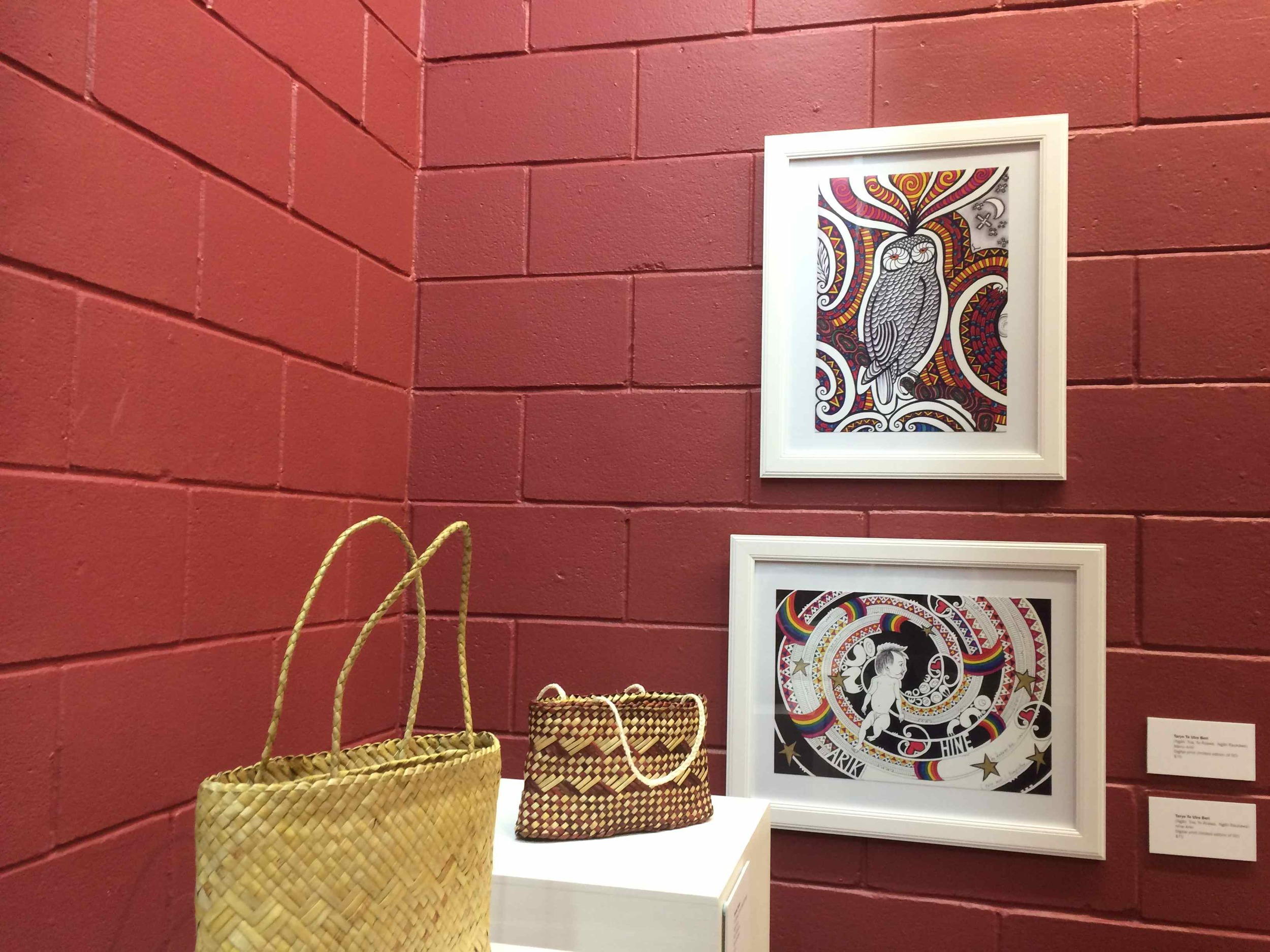 I have two prints on show in the exhibition, 'Manu Ariki' and 'Hine Ariki'. The   kete   shown in the foreground are by Snooks Forster.