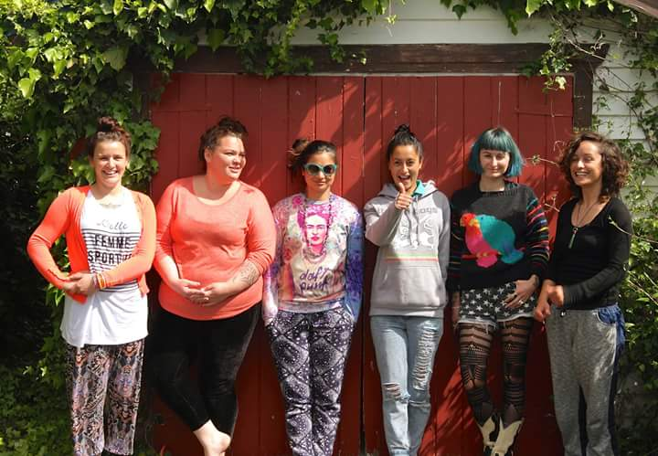 Sian Montgomery-Neutze, Rangimarie Sophie Jolley, Taryn Beri, Miriama Grace-Smith, Xoe Hall, and Pikihuia Haenga-Carkeek at our first wānanga together in preparation for the exhibition. Our jewellery artist Keri-Mei Zagrobelna was in Europe when we took this photo but she will be back in December in time for our exhibition opening!