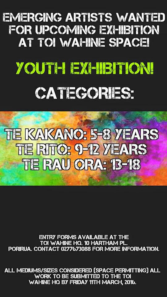 youth art exhibition procure 2016 toi wahine