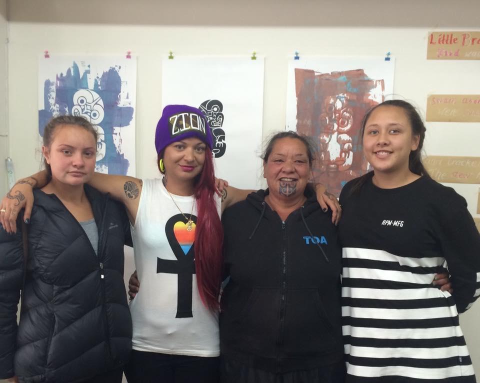 Me with Ngāti Toa whānau that came to Toi Wāhine HQ for tāmoko during phase two.