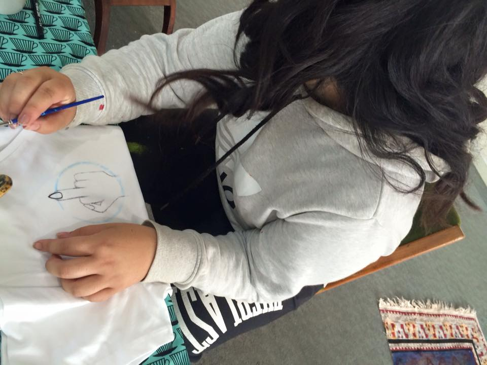 Our youngest artist Kaea Graham putting in work at our most recent art making waananga.