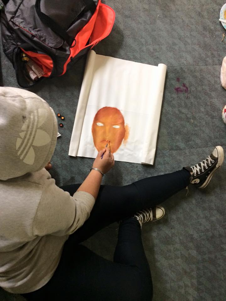 Kaea Graham putting in work at our most recent art making waananga.