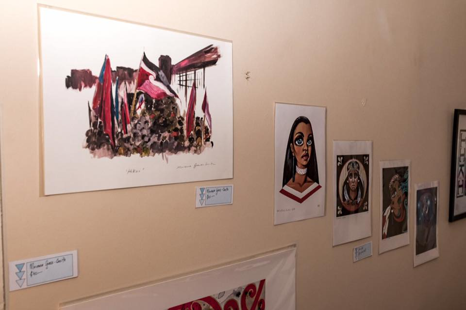 Some of the artwork that was for sale on the night by Miriama Grace-Smith (on the left) and Xoe Hall (on the right).