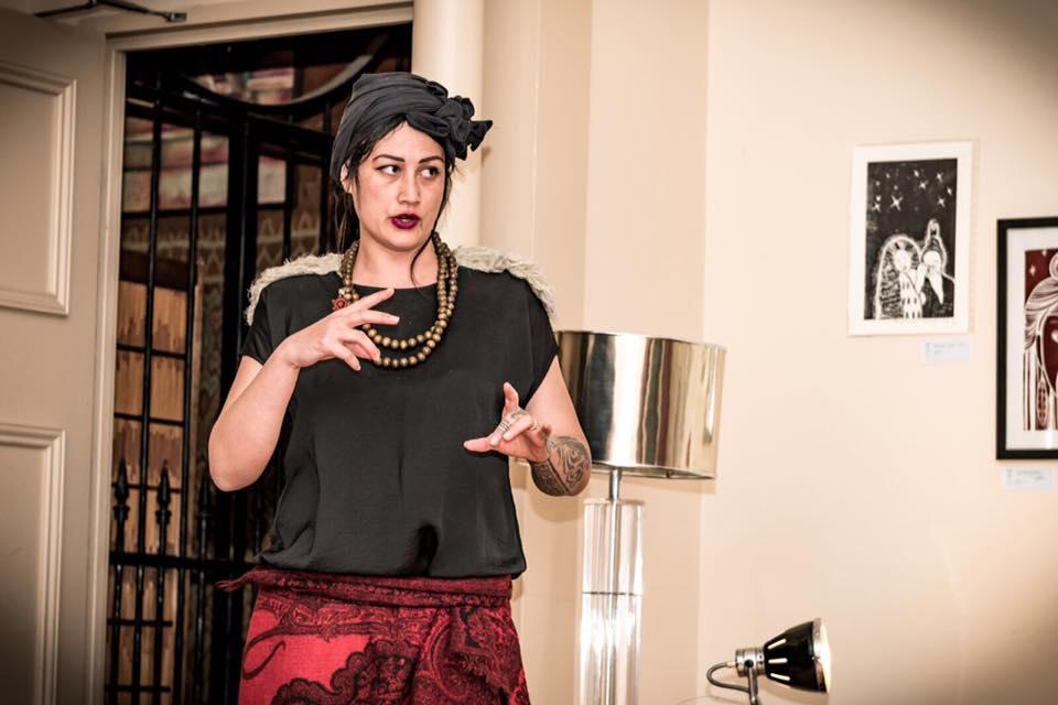 Pip Hartley of Karanga Ink giving her artist talk.