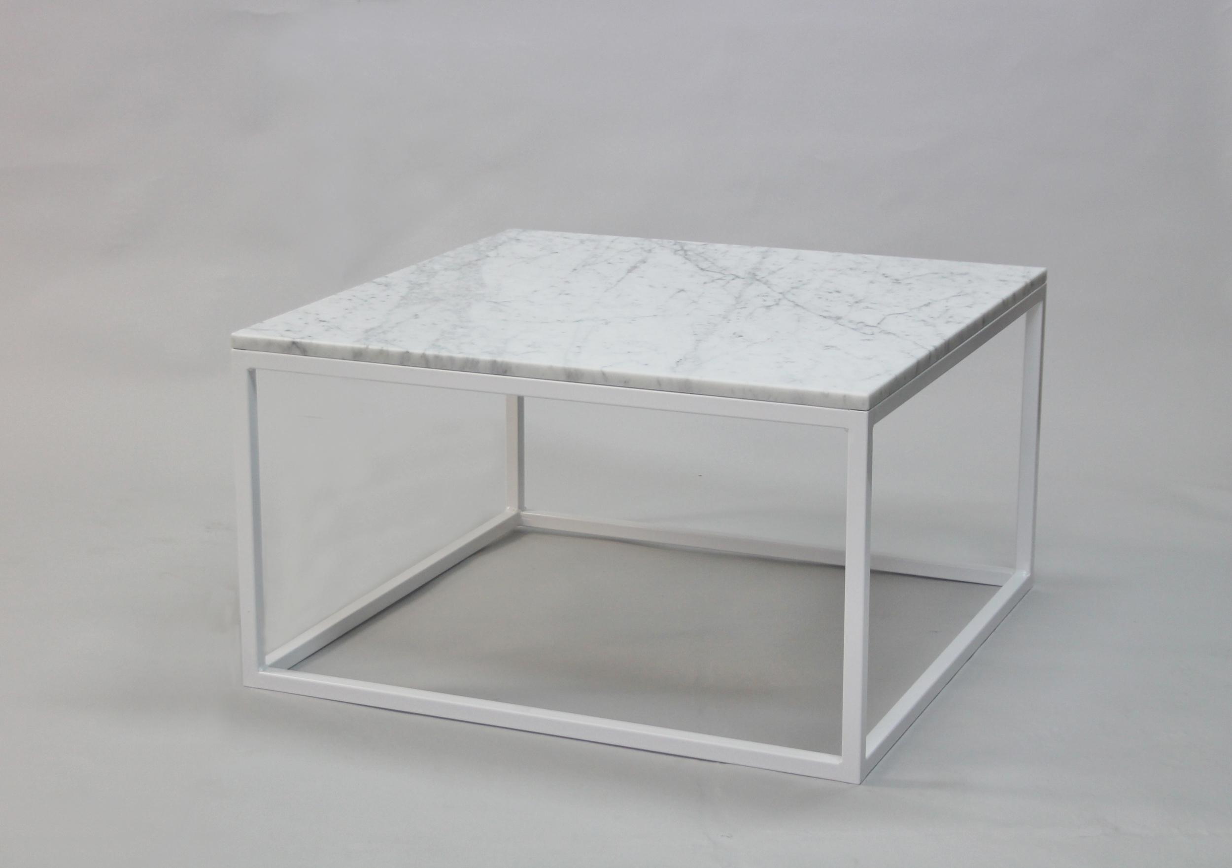 Marmorbord 80x80 H 45, vitt kub underrede