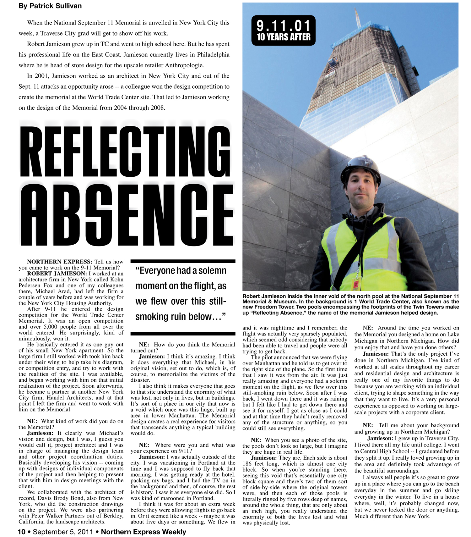Robert interviewed about his work on the WORLD TRADE CENTER MEMORIAL