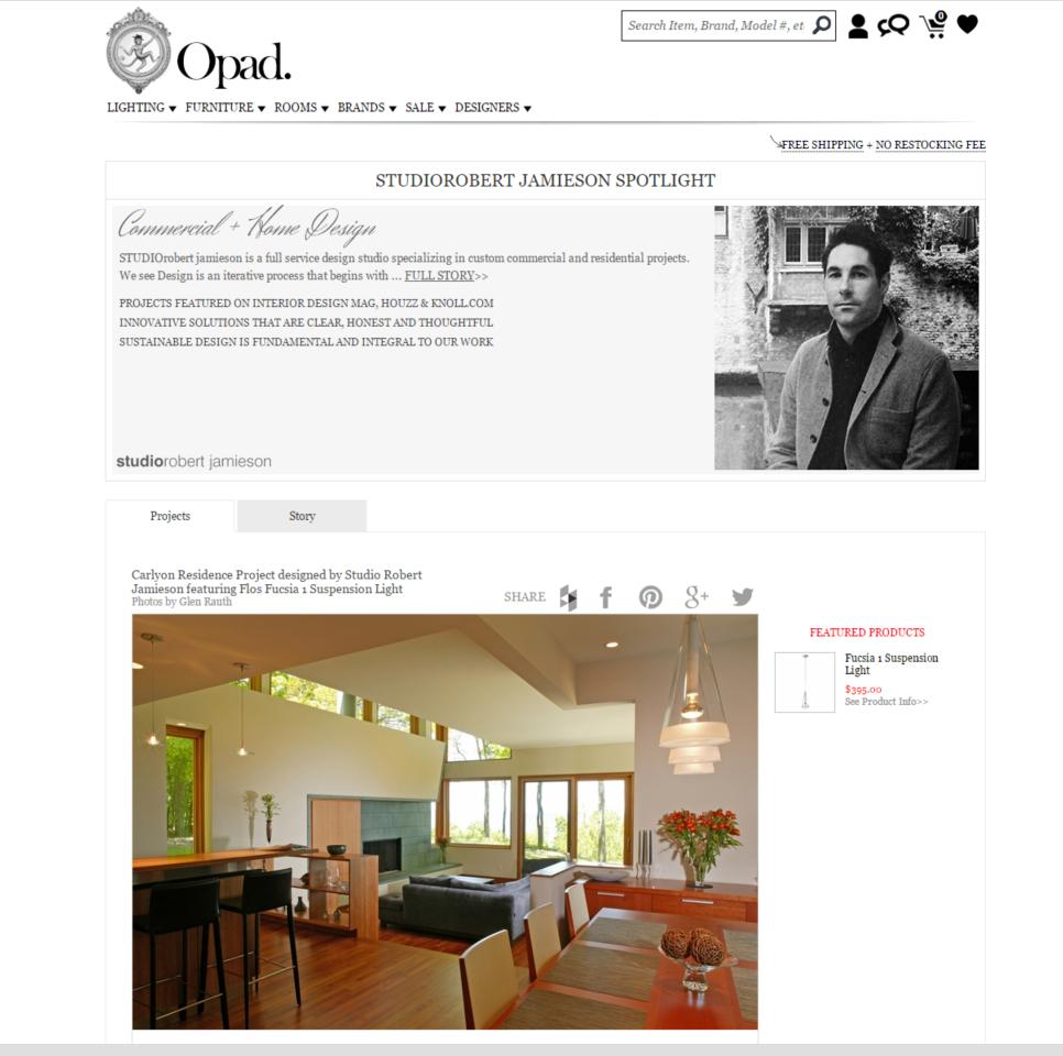 STUDIOrobert jamieson featured designer on OPAD home furnishings site