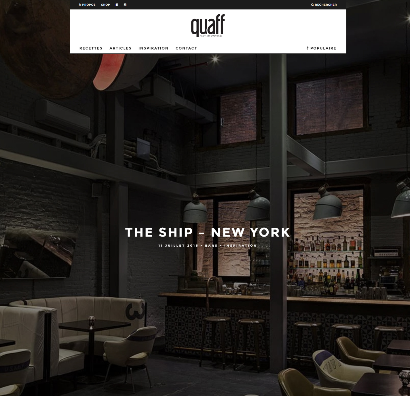 THE SHIP featured in Quaff, French culture magazine