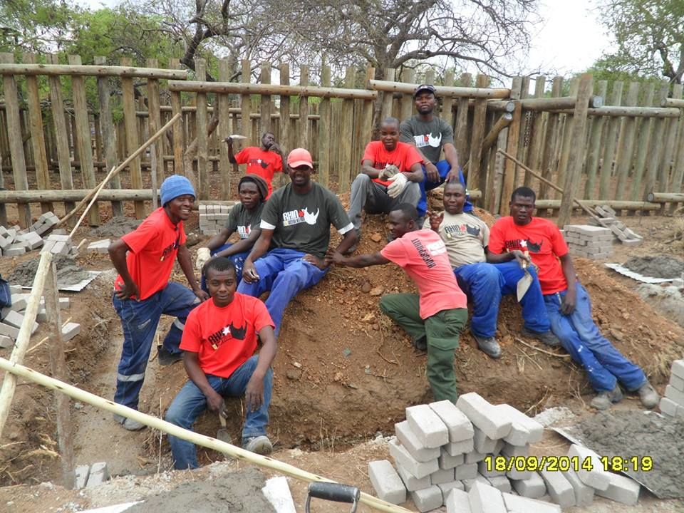 The local community working together to build the Rhino Orphanage