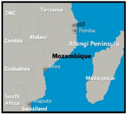 Location of gas finds off the coast of Northern Mozambique