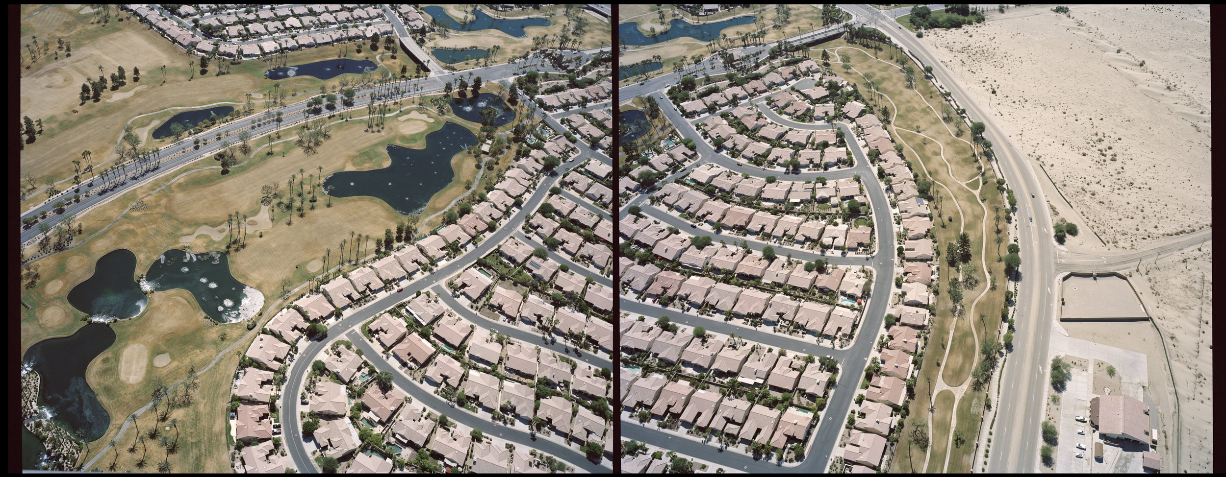"""The Suburbs. Palm Springs, California, USA, 2015.   """" California is a place in which a boom mentality and a sense of Chekhovian loss meet in uneasy suspension; in which the mind is troubled by some buried but ineradicable suspicion that things better work here, because here, beneath the immense bleached sky, is where we run out of continent. """" - Joan Didion, Slouching Towards Bethlehem"""