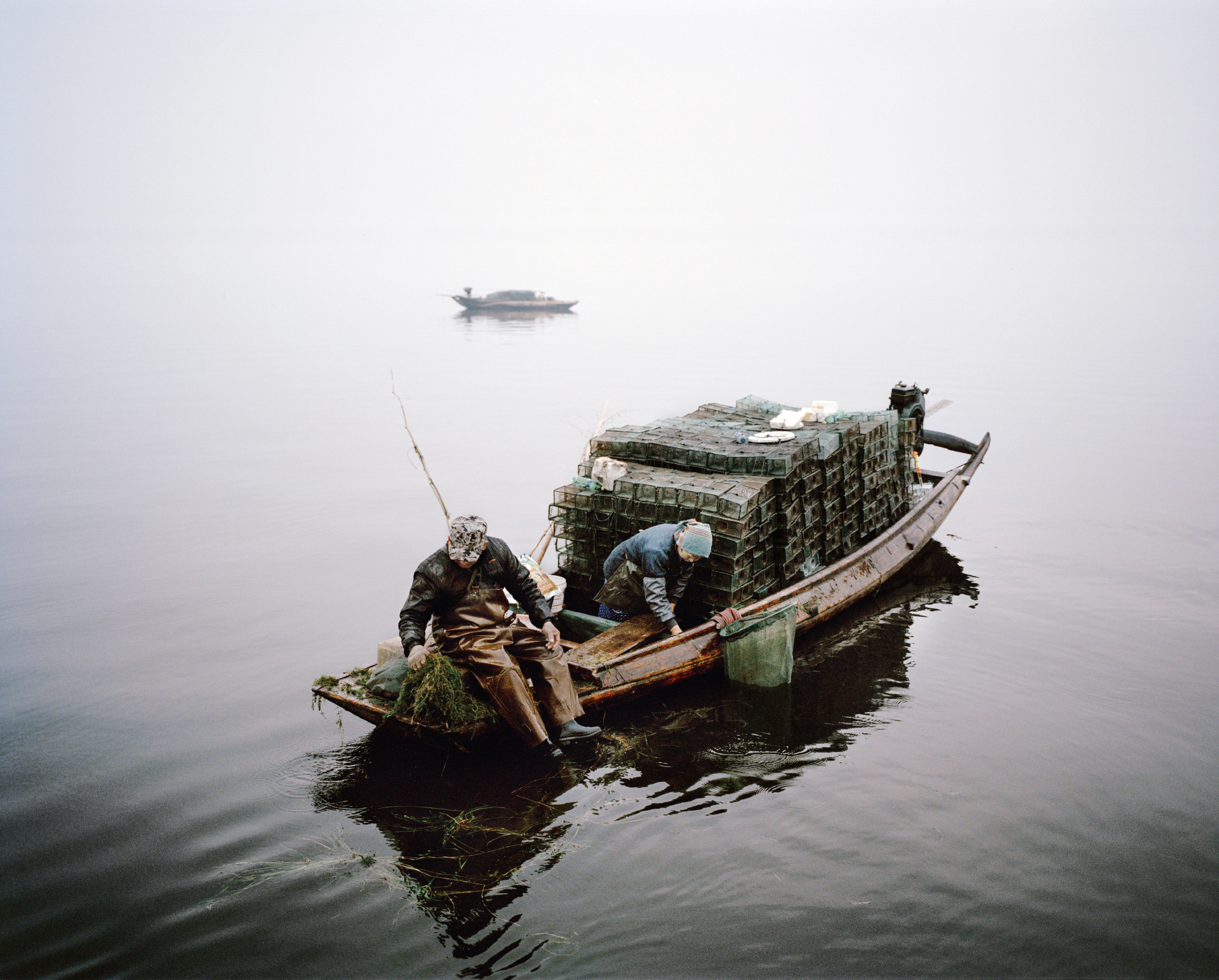 Seaweed and shrimp trawlers. Honghu, China, 2015.
