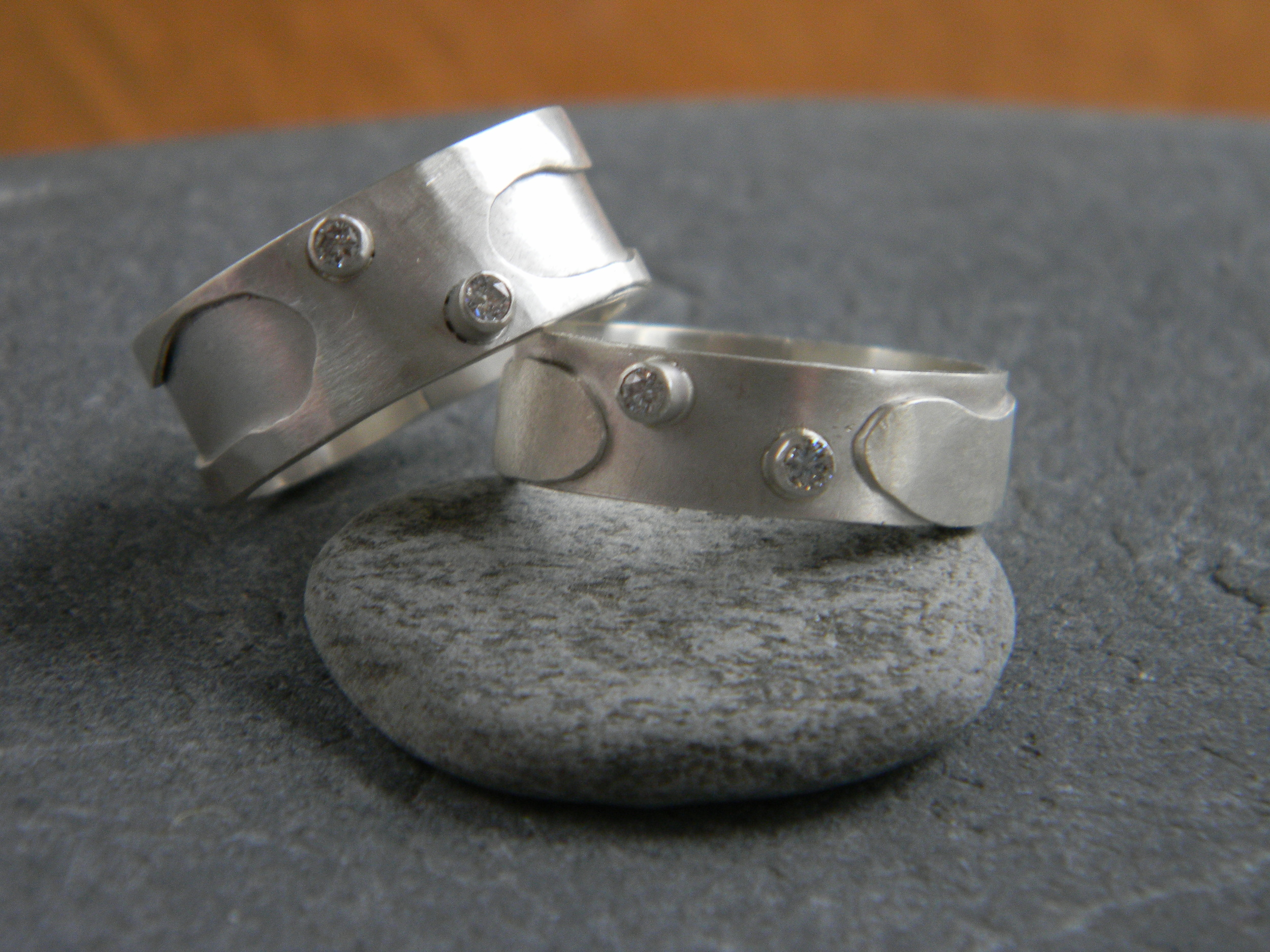 Sterling silver 5 mm wide bands with 2 mm diamonds