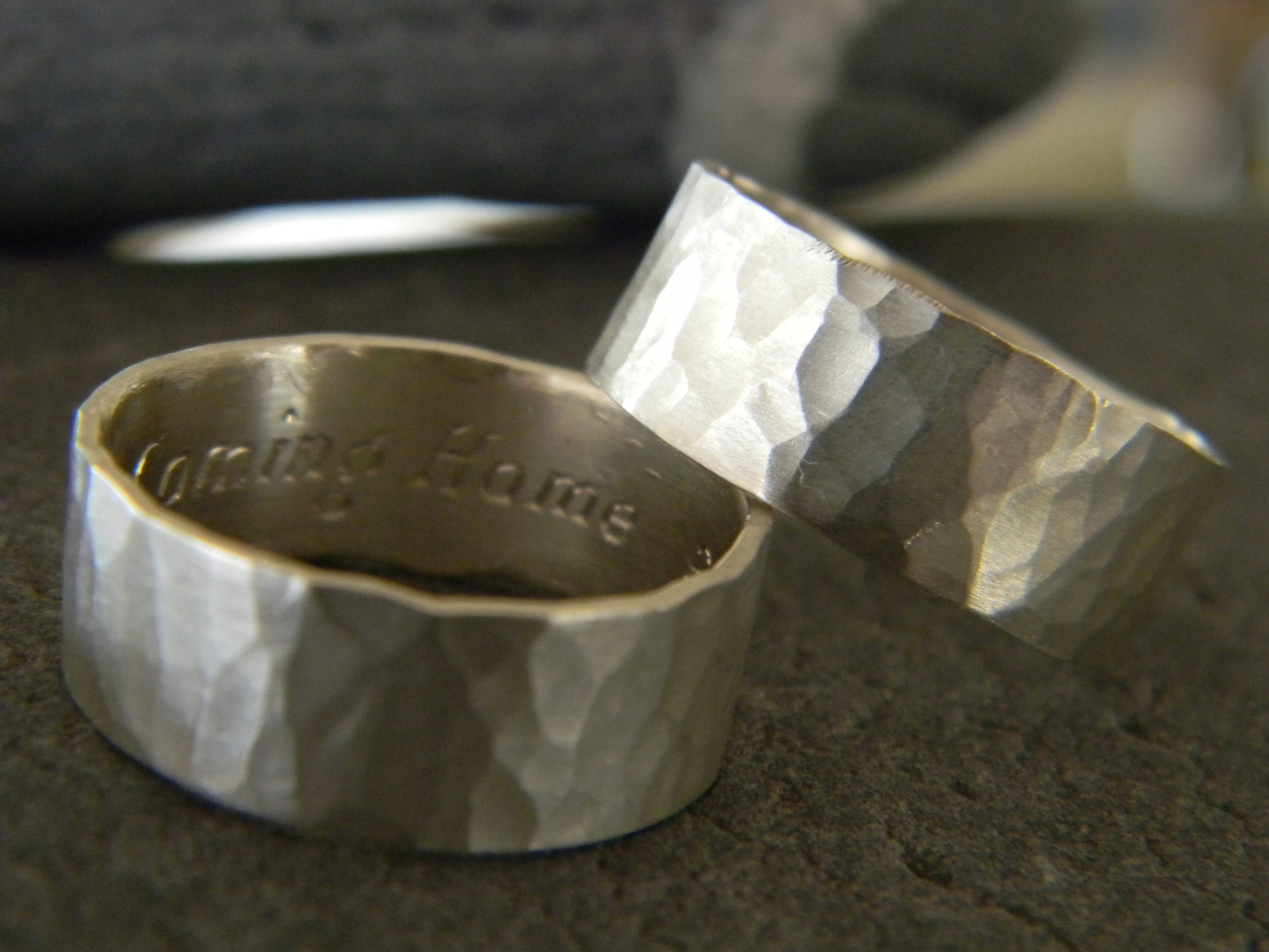 Simple hammered bands with a matte finish