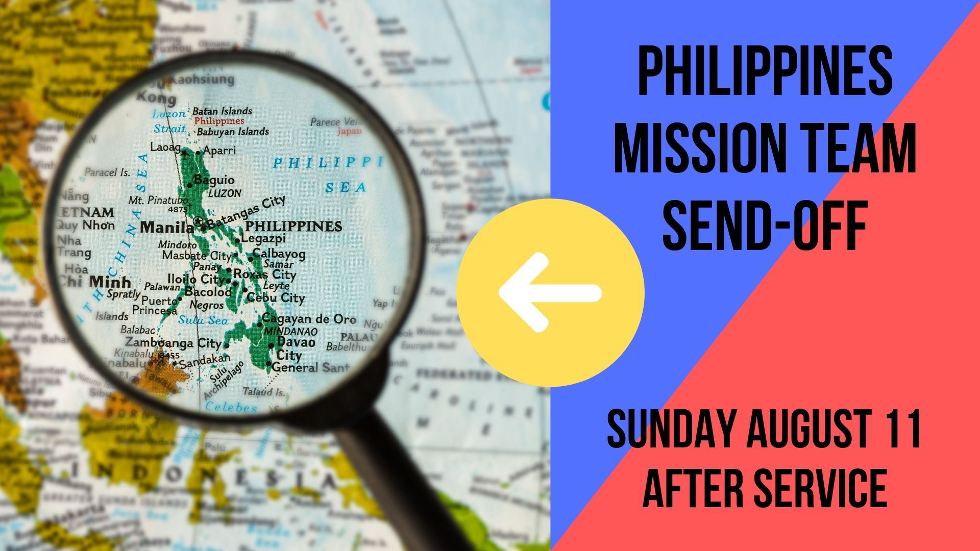 Join us at Rainier Valley Church directly after service on Sunday, August 11th to support the Philippines Missionary Team. We will be praying over the team and their trip to Cebu to serve our ministry partners GCE (Grace Community Empowerment).