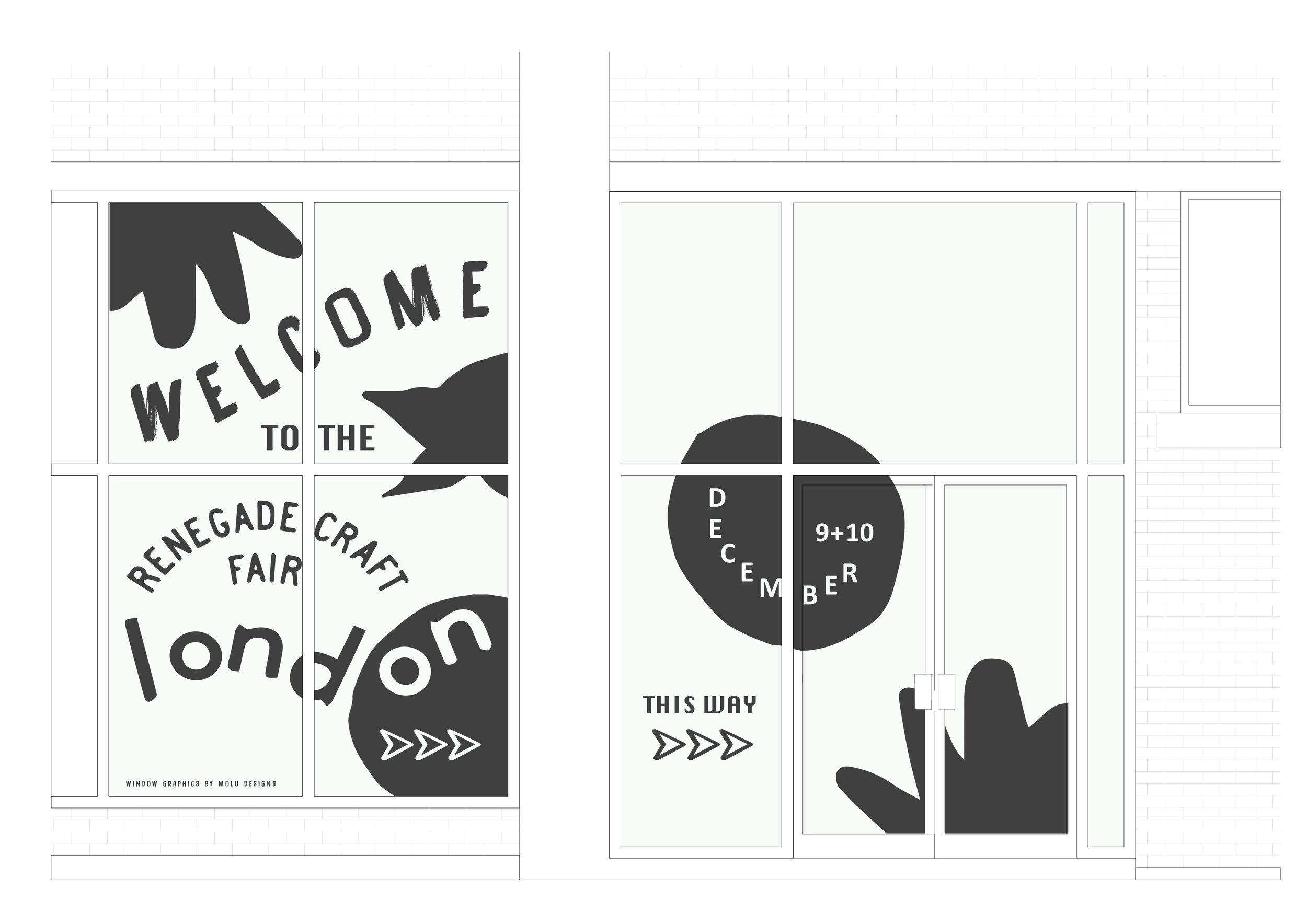 WINDOW GRAPHICS FOR RENEGADE CRAFT FAIR, LONDON -