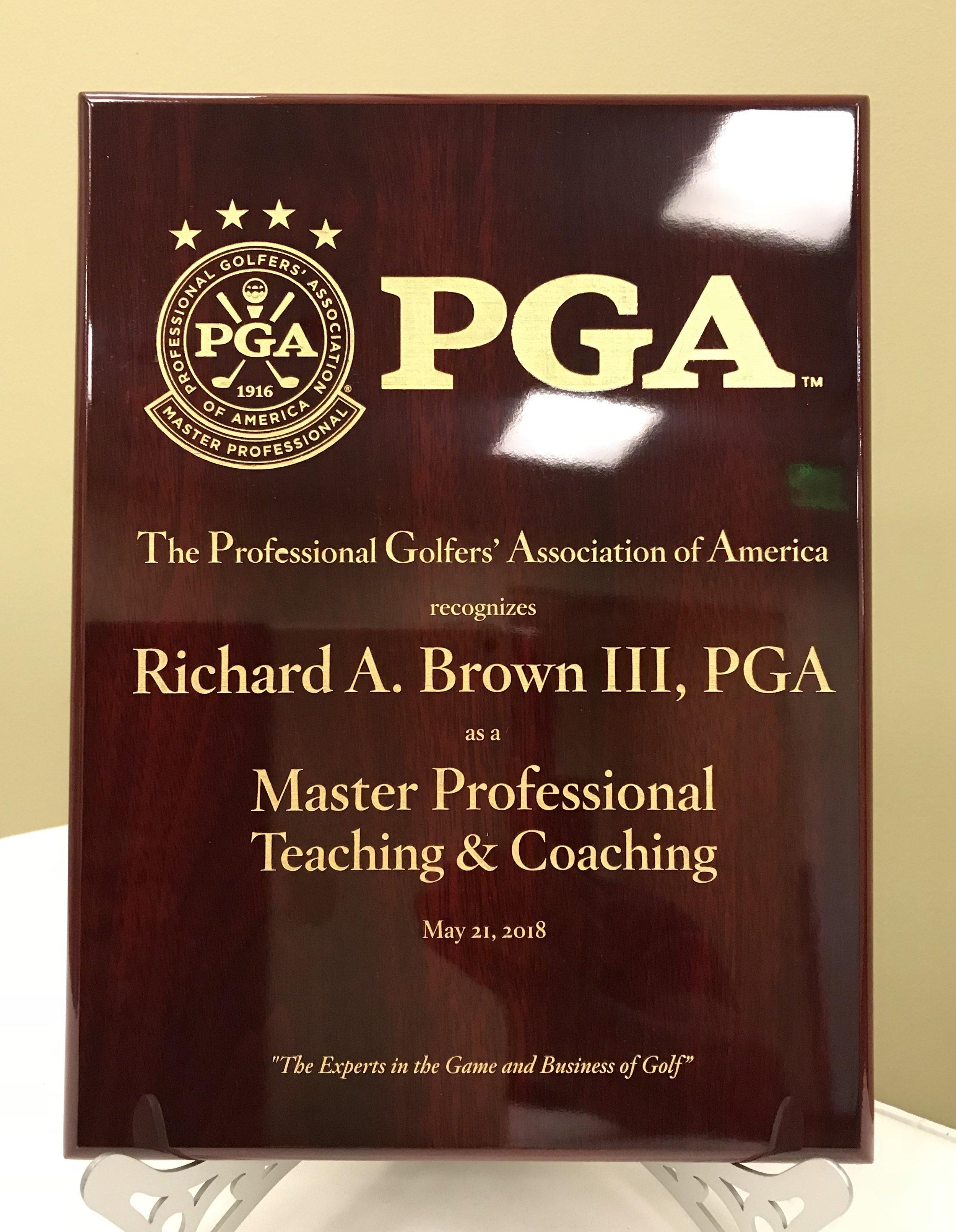 PGA Master Professional Plaque