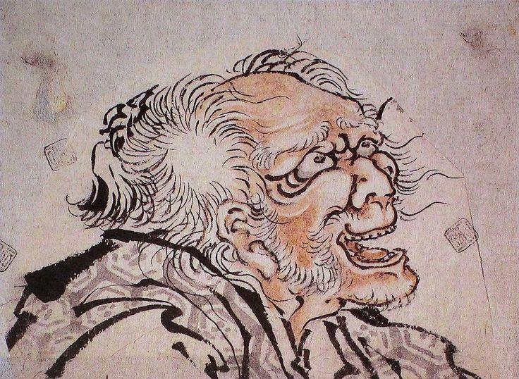 Tête de vieillard probablement un autoportrait , Hokusai, 1842, 11 x 14, Leyde, Rijksmuseum voor Volkenkunde