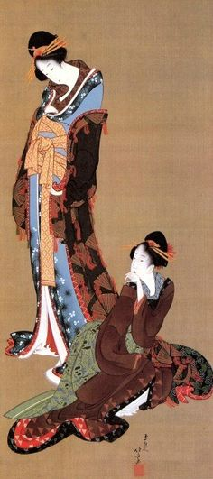 Deux courtisanes , Hokusai, 1800, peinture sur soie, 110,5 x 36,7, Bijutsukan, MOA