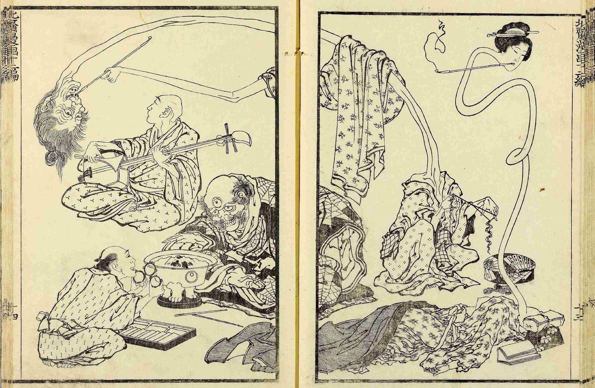 Vampires ,  Hokusai Manga , Planche du manuel de dessin volume XII, 1817, Leyde, Musée national d'ethnologie