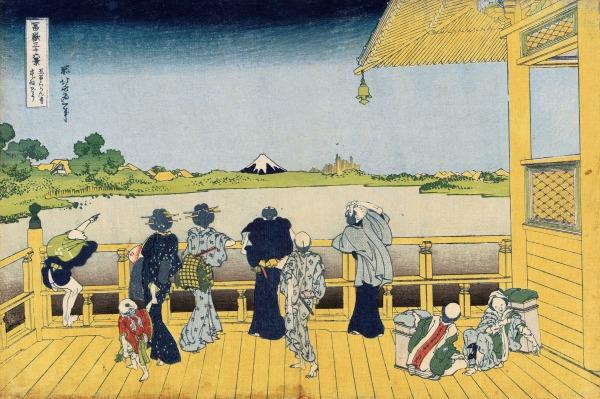 Voyageurs admirant le Mont Fuji depuis la maison de thé , Hokusai, Extrait de la série des T rente-six vues du mont Fuji , 1831, Collection particulière