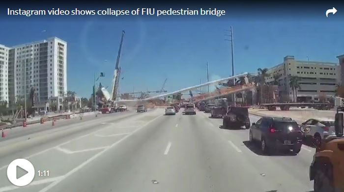 A dashcam video shows the FIU pedestrian bridge falling on Thursday, March 15, 2018. McClatchy@o2webdev via Instagram