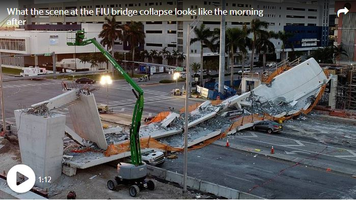 Aerial footage shows what the scene at the FIU pedestrian bridge collapse looks like the morning after on March 16, 2018.  -Pedro Portal Miami Herald