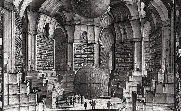 La Biblioteca de Babel  by Erik Desmazieres (inspired by Jorge Luis Borges novel of the same name), 1997.