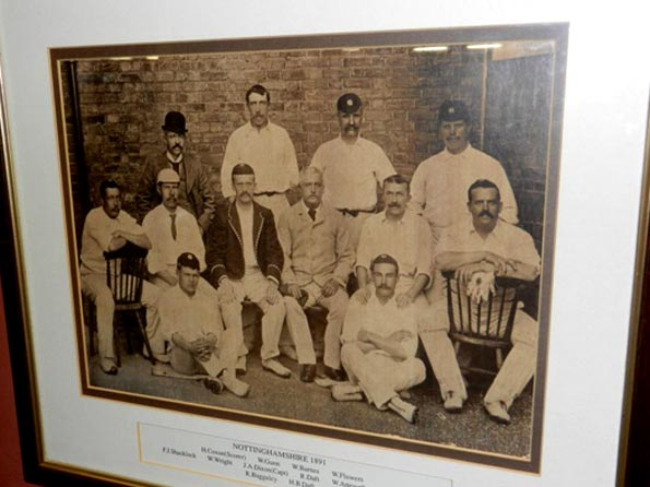Frank Shacklock and Mordecai Sherwin – the two Nottingham cricketers based on whom fiction's greatest detective was named, can be seen at the two extremes of the middle row in this picture that hangs in the Trent Bridge pavilion