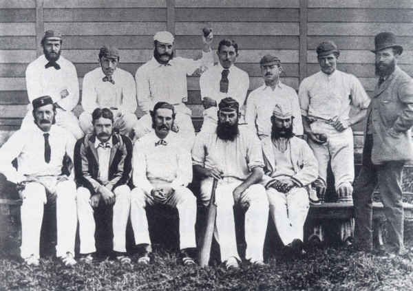 The Gloucestershire side of 1877. WG and EM are seated atthe extreme right of the front row