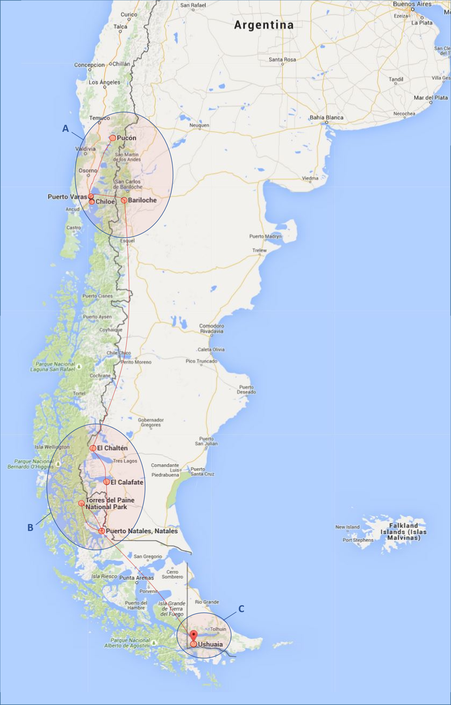Our Tentative Route Through Patagonia (3-4 weeks)