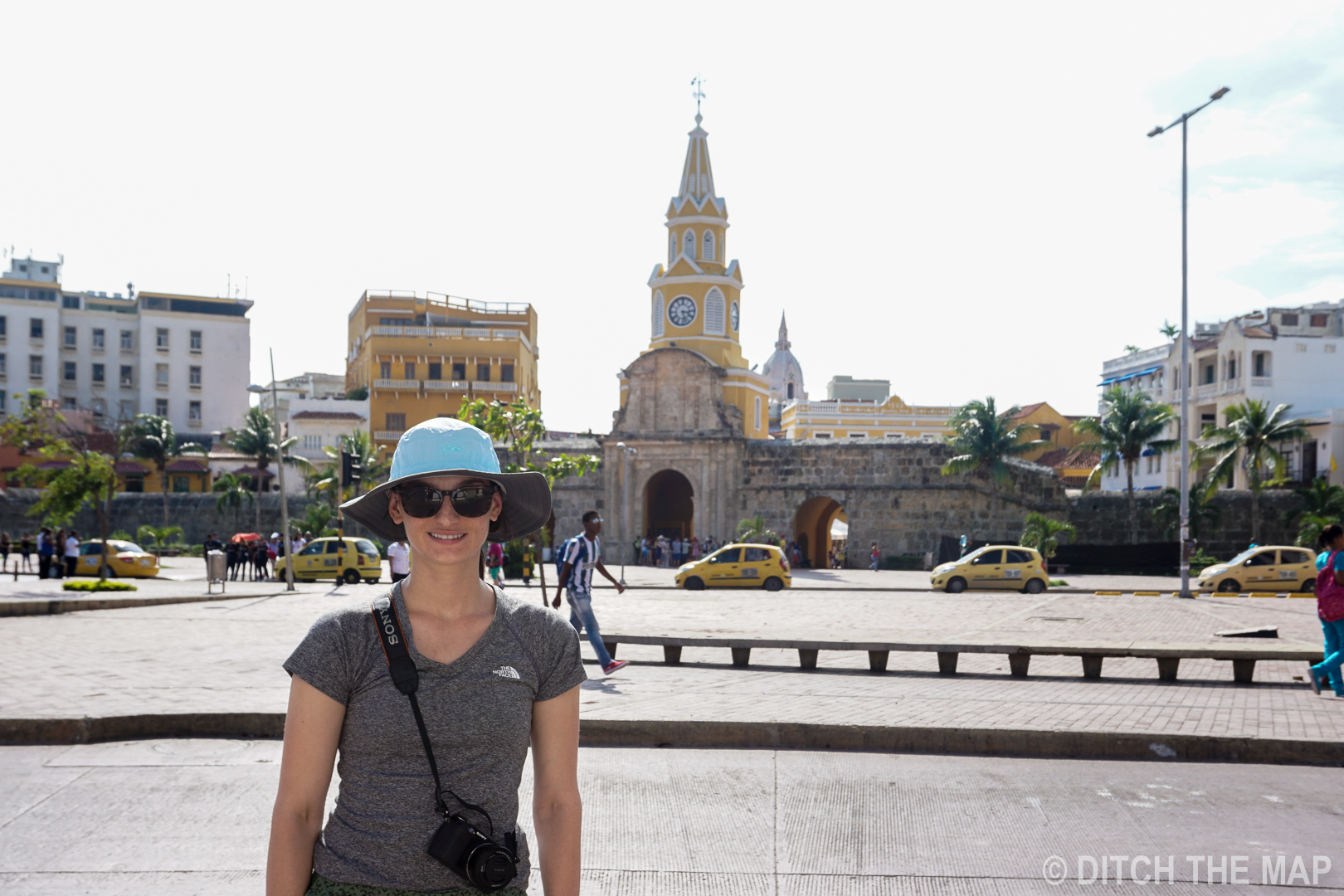 Sylvie in front of Old Town in Cartagena, Colombia