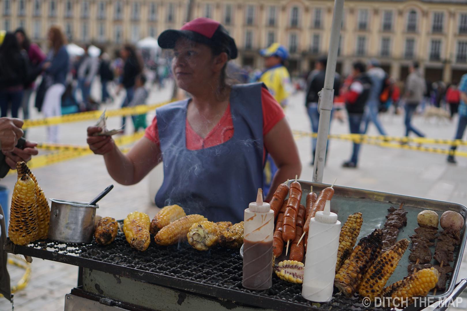Street food in Bogota, Colombia