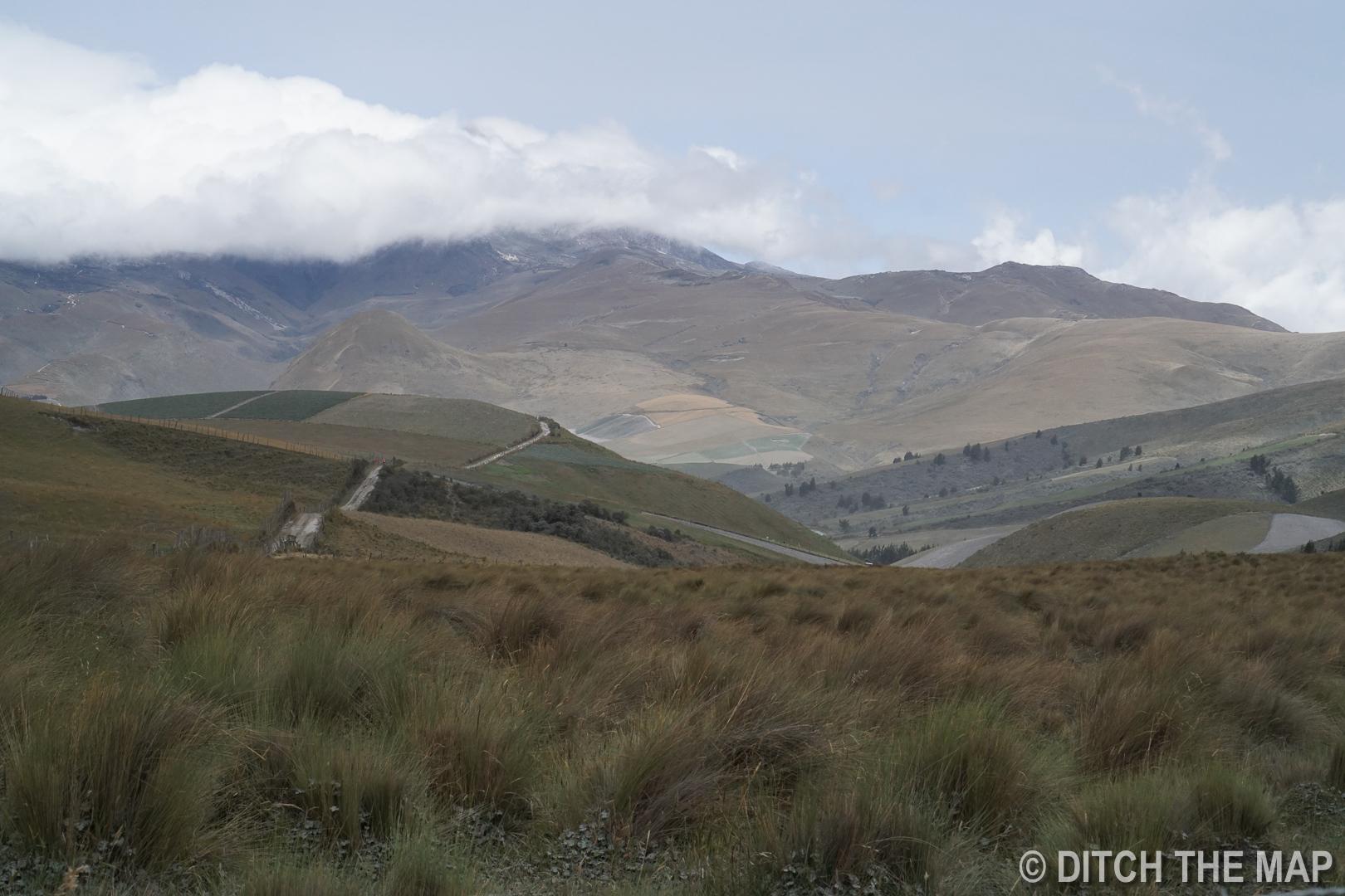 A view of our mountain biking path in Cotopaxi, Ecuador