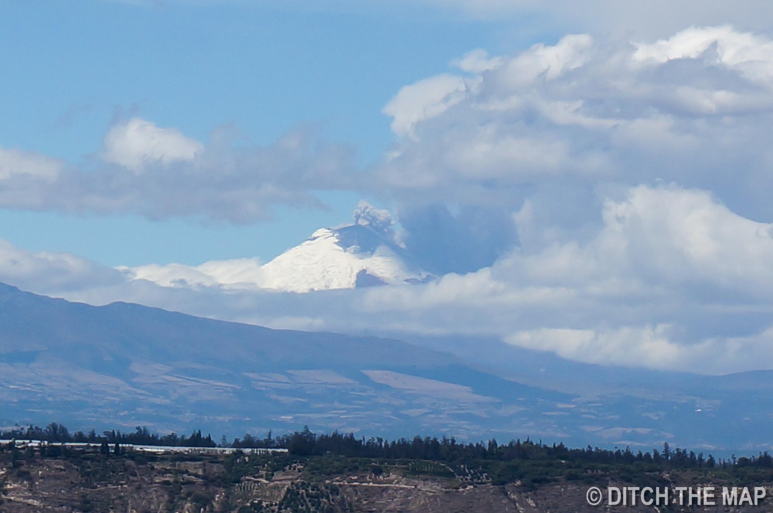 Ash plume coming from Cotopaxi Volcano, Ecuador