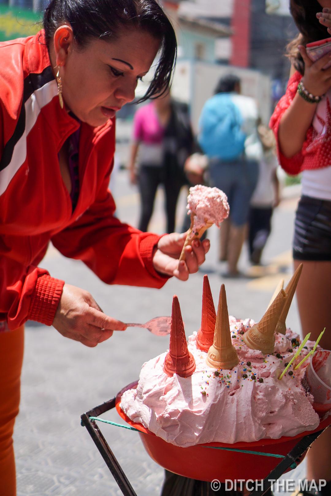 Trying a Strawberry Marshmallow-Fluff like Dessert in Otavalo, Ecuador