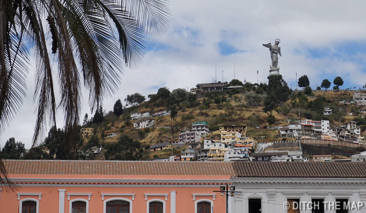A View of the Virgin of Quito from Old Town in Quito, Ecuador
