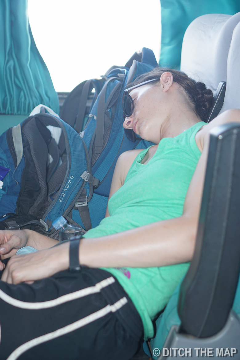 Sylvie falls asleep the first opportunity she gets en route to Paita, Peru