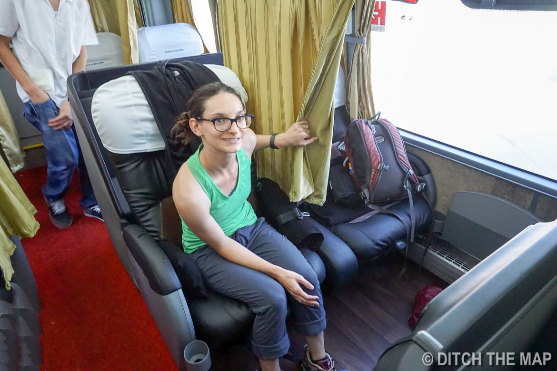 Sylvie enjoys the luxurious 17-hour bus ride to Lima, Peru