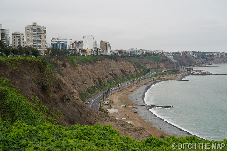 Coastline of Mira Flores in Lima, Peru