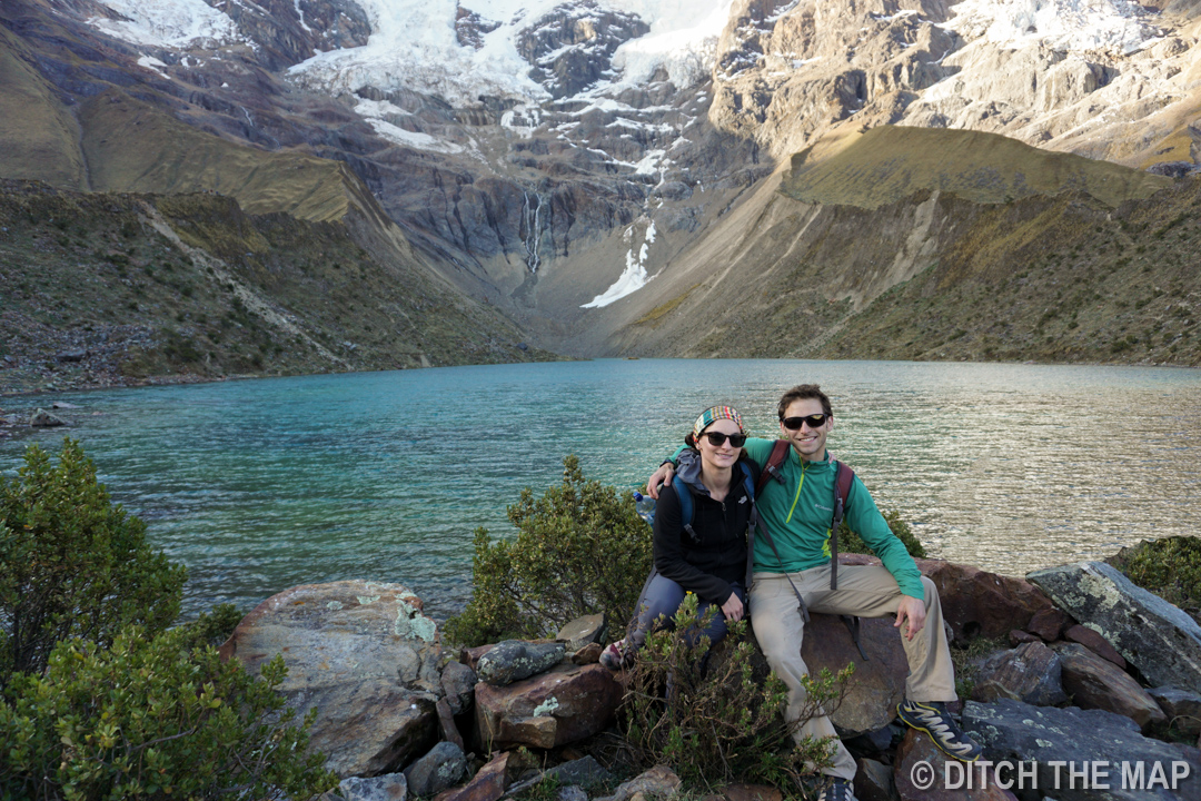 The glacier lake during our first day on the Salkantay Trek, Peru