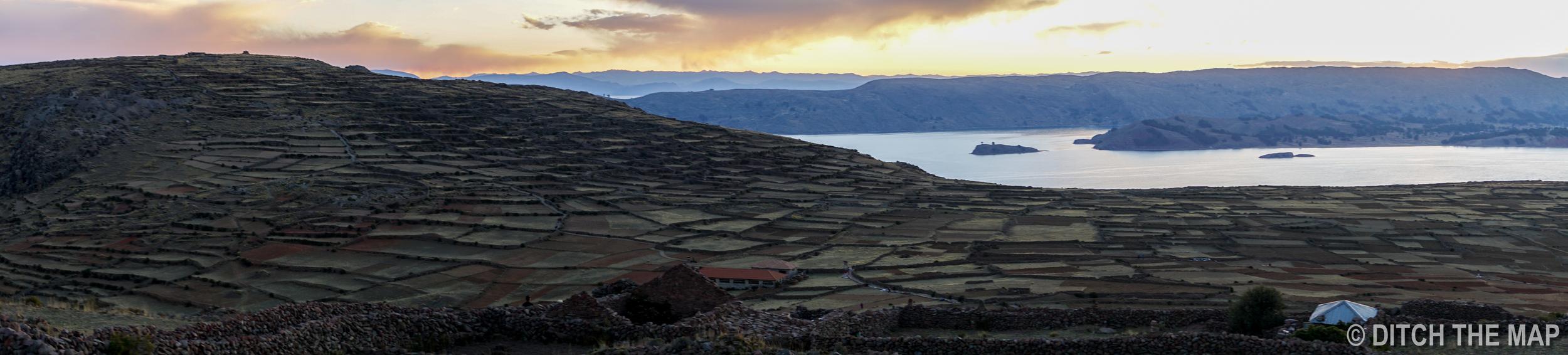 Watching the sunset on Amantani Island in Lake Titicaca in Puno, Peru