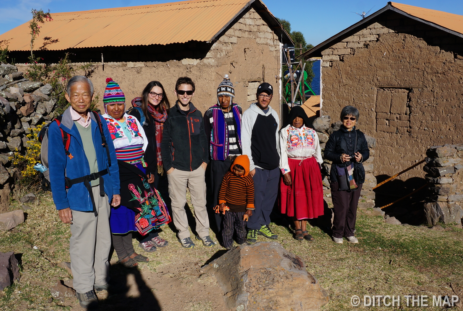 Our family our homestay on Amantani Island on Lake Titicaca, Peru