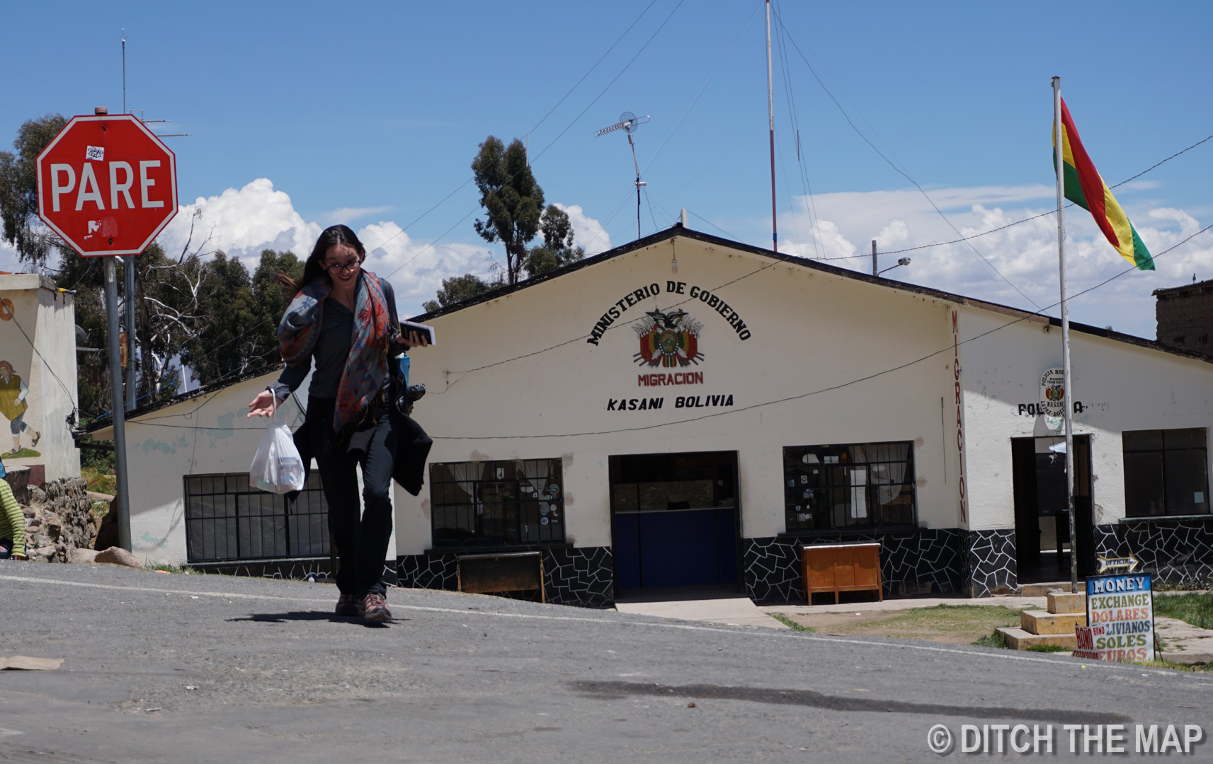 Sylvie making her way back from Bolivian Immigration