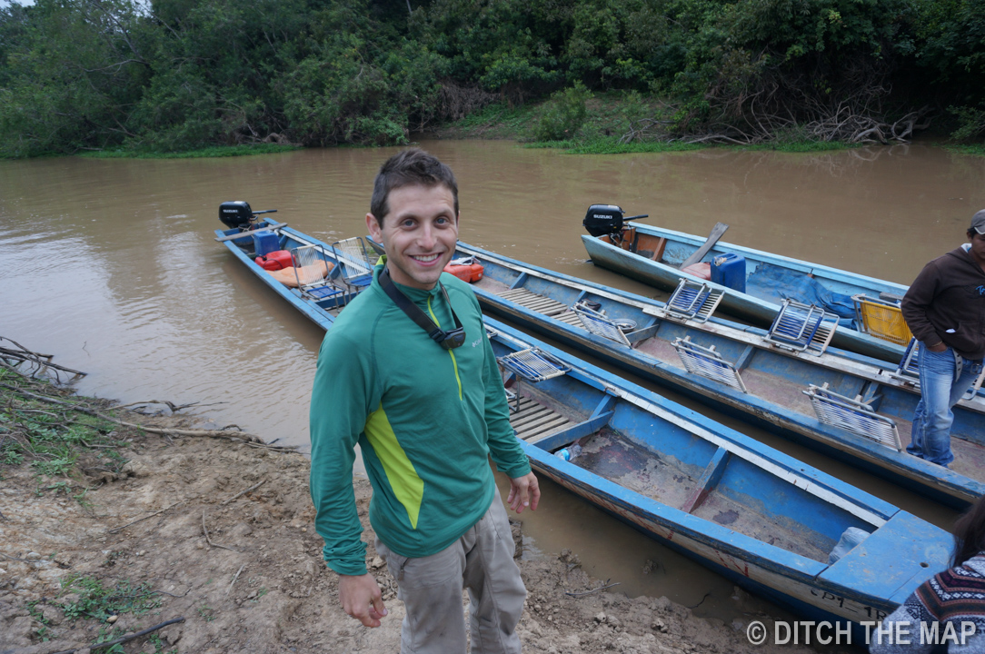 Heading out for our nighttime ride up the river in The Pampas, Bolivia