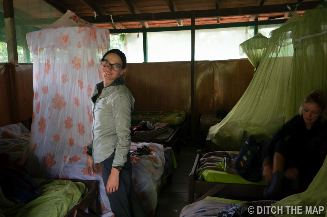 Sylvie smiling in our lodge at The Pampas, Bolivia