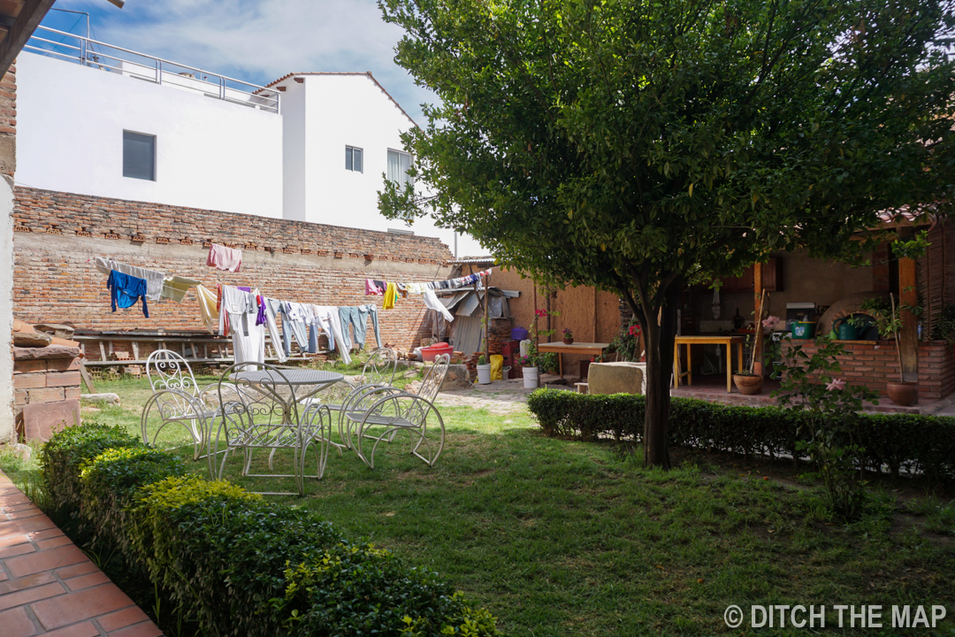 Our hotel rear courtyard in Sucre, Bolivia