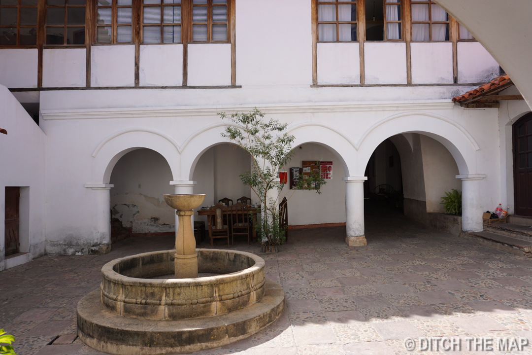 Our hotel front courtyard in Sucre, Bolivia